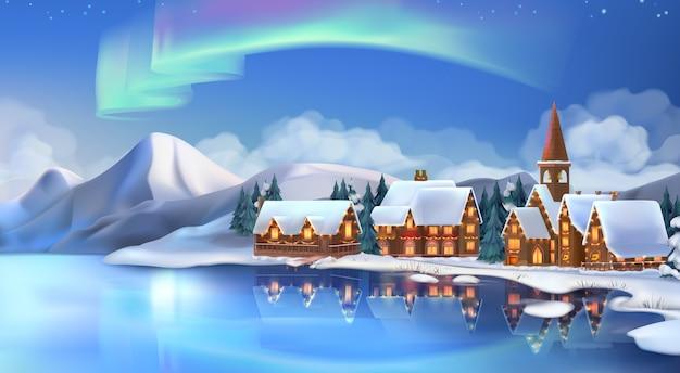 Zimowy krajobraz. domki bożonarodzeniowe. świąteczne dekoracje świąteczne.
