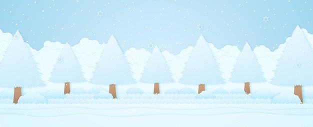 Zimowy krajobraz, drzewa na trawie w ogrodzie, śnieg padający z płatkami śniegu, papierowy styl