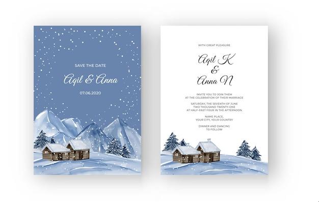Zimowy krajobraz górski z domowym zaproszeniem na ślub akwarela