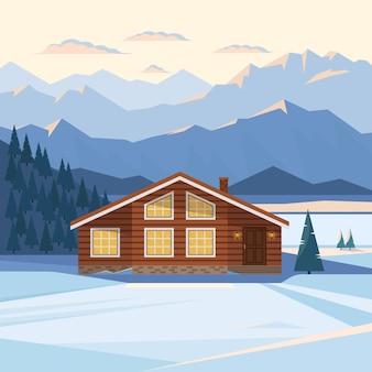 Zimowy krajobraz górski z drewnianym domkiem, domkiem, śniegiem, oświetlonymi szczytami górskimi, wzgórzem, lasem, rzeką, jodłami, podświetlanymi oknami, zachodem słońca, świtem. płaska ilustracja.