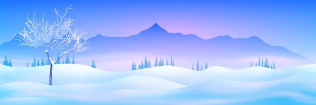Zimowy krajobraz górski z zaspami i światłem słońca