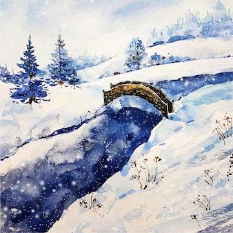 Zimowy krajobraz jeziora i mostu