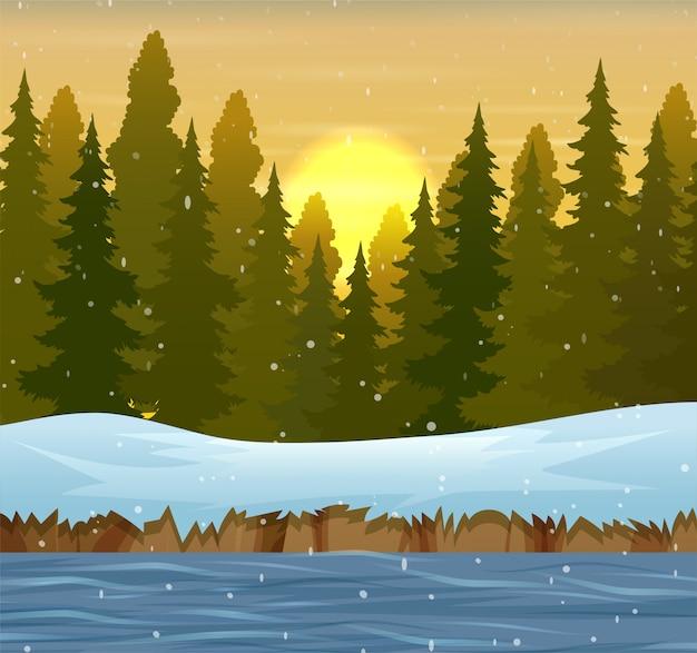 Zimowy krajobraz lasu o zachodzie słońca