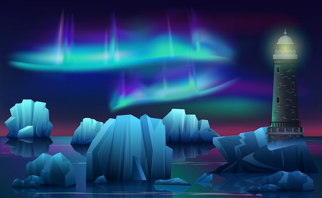 Zimowy krajobraz latarni morskiej w lodowym oceanie arktycznym z górami lodowymi. noc polarna ze światłami północnej zorzy polarnej.