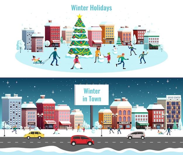 Zimowy krajobraz miasta przedstawia ilustrację