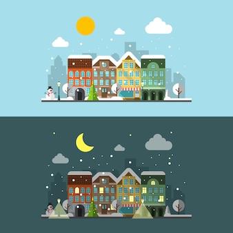 Zimowy krajobraz miasta w dzień iw nocy.