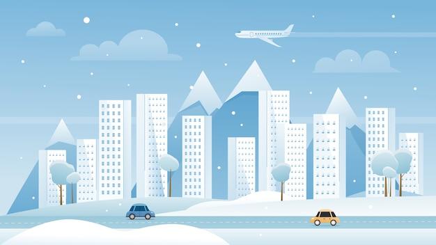 Zimowy krajobraz miejski metropolii miasta