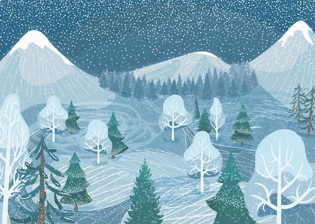 Zimowy krajobraz. natura górskiego lasu śnieżna scena z jodły, drogi, świerku, sosny. północna sceneria śniegu na zewnątrz.