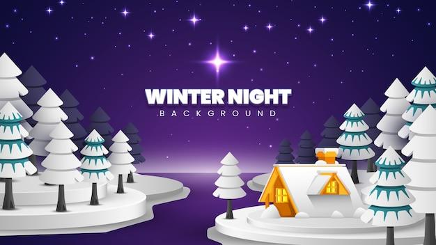 Zimowy krajobraz nocny tło