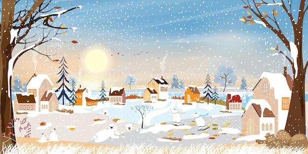 Zimowy krajobraz, obchody bożego narodzenia i nowego roku w wiosce nocą z gwiazdą i błękitnym niebem,