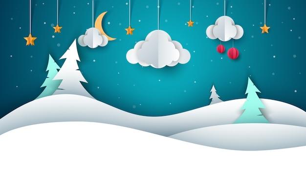 Zimowy krajobraz - papierowa ilustracja.