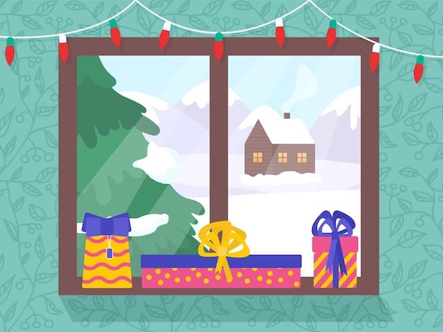 Zimowy krajobraz przez okno z lampkami choinkowymi i prezentami. pocztówka świąteczna nowego roku.