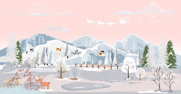 Zimowy krajobraz sceny w małej wiosce.