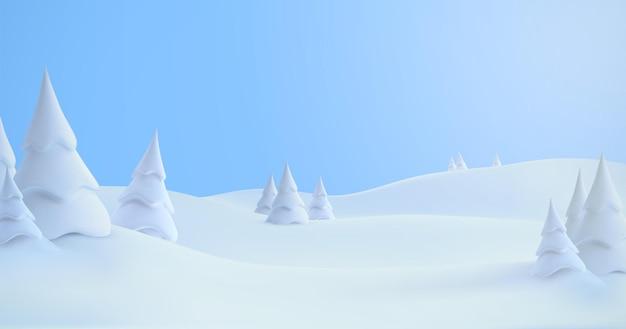 Zimowy krajobraz śnieżnych wzgórz z zaspami śnieżnymi i ośnieżonymi jodłami