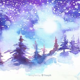 Zimowy krajobraz tło akwarela
