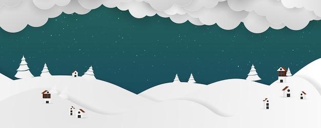 Zimowy krajobraz tło. mikołaj na niebie.