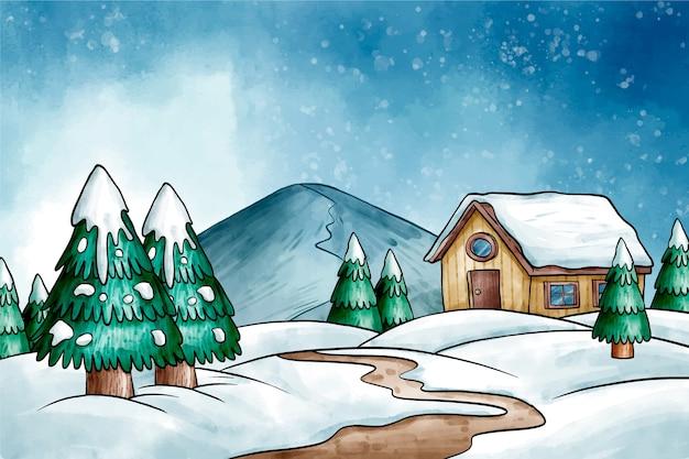 Zimowy krajobraz tło w akwarela