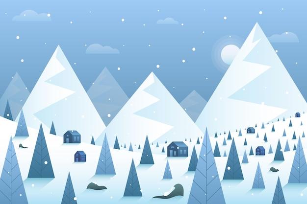Zimowy krajobraz tło z górami