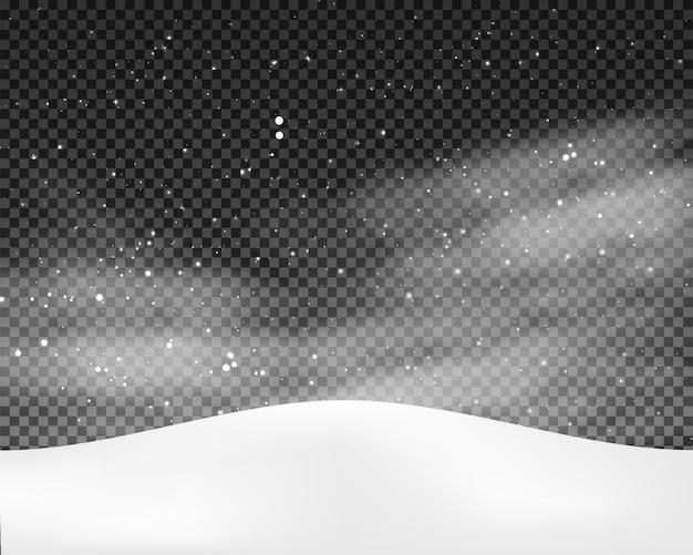 Zimowy krajobraz tło z padający śnieg
