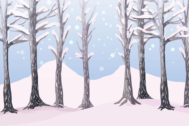 Zimowy krajobraz w akwareli