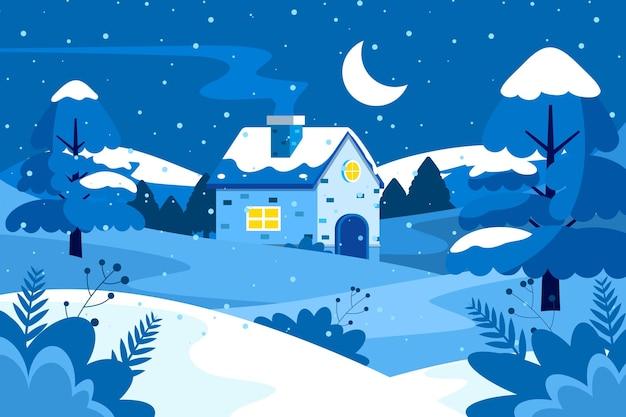 Zimowy krajobraz w płaskiej konstrukcji
