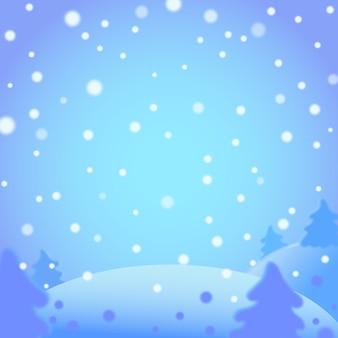 Zimowy krajobraz w stylu cartoon