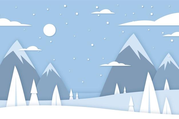 Zimowy krajobraz w stylu papieru