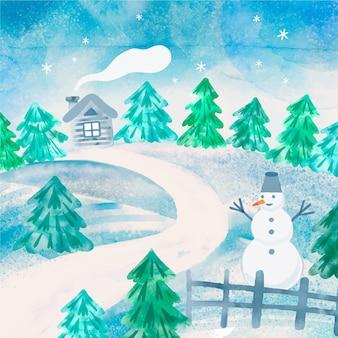 Zimowy krajobraz w stylu przypominającym akwarele