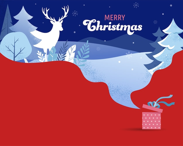 Zimowy krajobraz w tle. baner świąteczny. ilustracja