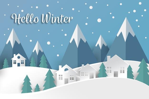 Zimowy krajobraz w tle stylu papieru