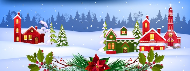 Zimowy krajobraz wektor boże narodzenie z dekorowanymi fasadami wsi, sosny, śnieg, las