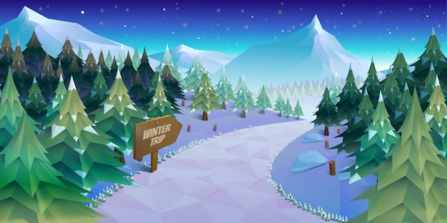 Zimowy krajobraz wektor