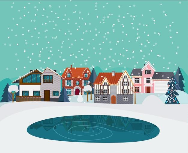 Zimowy krajobraz wiejski płaski szablon