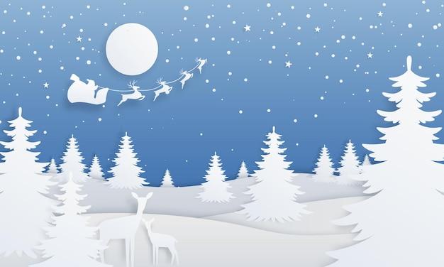 Zimowy krajobraz wycięty z papieru