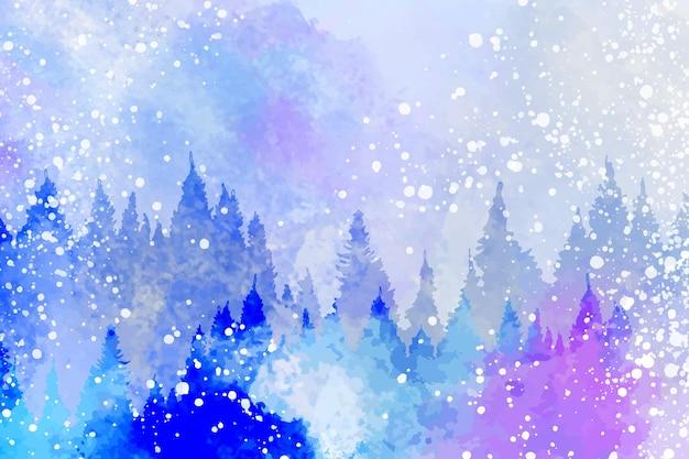 Zimowy krajobraz wykonany akwarelami