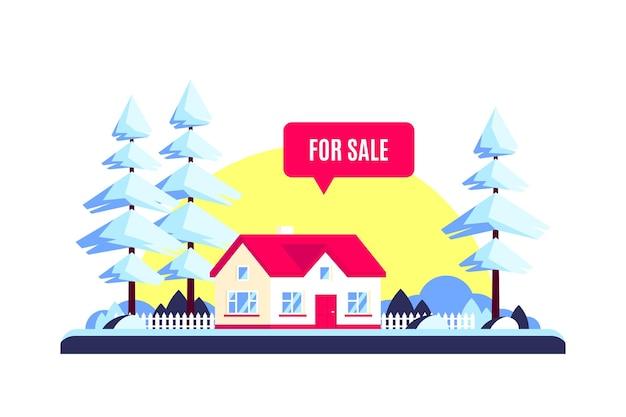 Zimowy krajobraz z domem rodzinnym lasu, drzewami, słońcem i na sprzedaż znak. pojęcie nieruchomości. ilustracja w stylu płaska konstrukcja