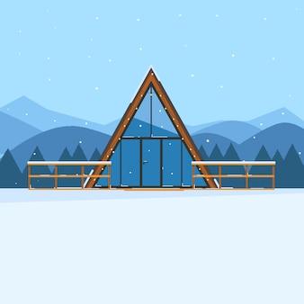 Zimowy krajobraz z domu