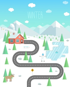 Zimowy krajobraz z górami, lasem i jeziorem. weekend na łonie natury. dom w lesie ilustracja płaski wektor.