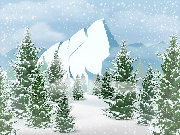 Zimowy krajobraz z górami, lasem jodłowym i opadami śniegu.