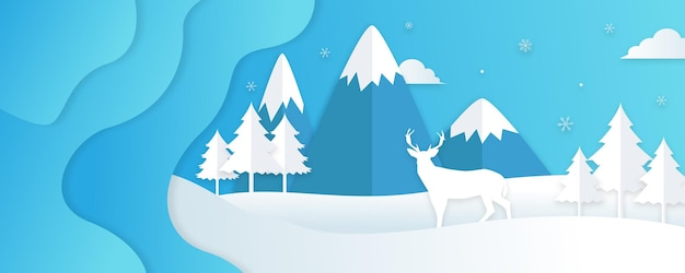 Zimowy krajobraz z jodłami i śniegiem. boże narodzenie tło. projekt ulotki, banera, plakatu, zaproszenia