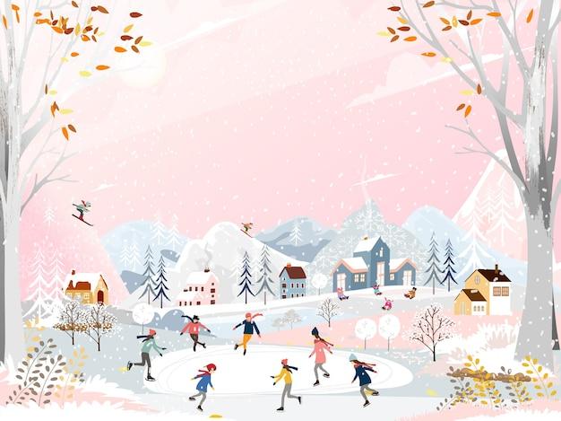 Zimowy krajobraz z ludźmi zabawy na łyżwach