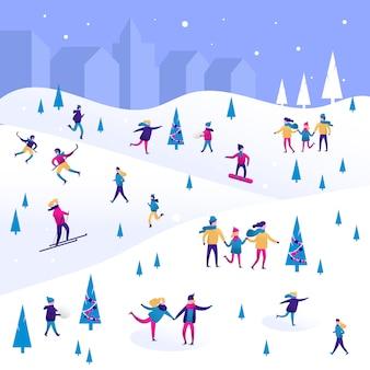 Zimowy krajobraz z małymi ludźmi, mężczyznami i kobietami, dziećmi i rodziną.