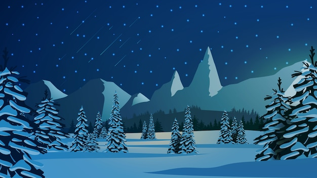 Zimowy krajobraz z ośnieżonymi sosnami, wysokimi górami na horyzoncie i niebieskim gwiaździstym niebem