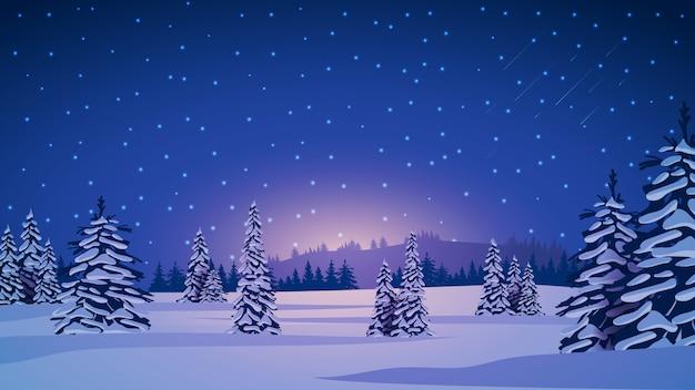 Zimowy krajobraz z ośnieżonymi sosnami, wzgórzami na horyzoncie, niebieskim gwiaździstym niebem i zaśnieżonymi równinami.