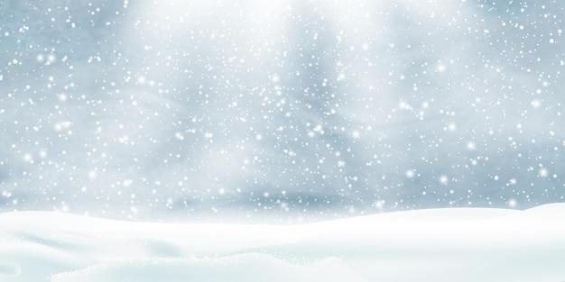Zimowy krajobraz z padającym śniegiem, śnieżnym tle.