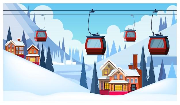 Zimowy krajobraz z pensjonatami i kolejkami linowymi