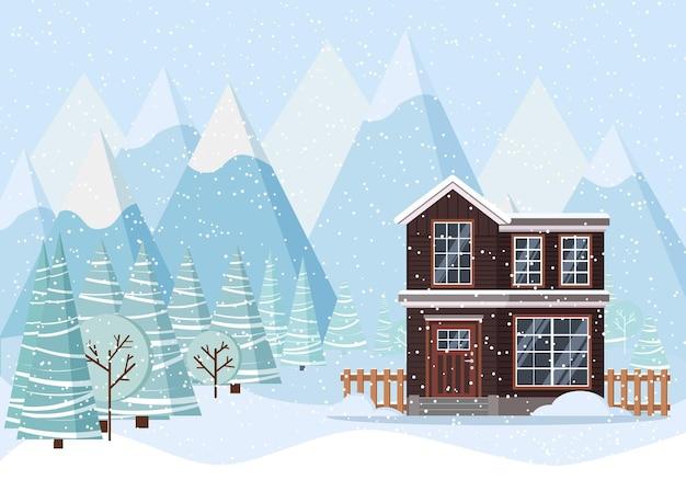 Zimowy krajobraz z wiejskim domem, drzewami zimowymi, świerkami, górami, śniegiem w stylu płaski kreskówka.