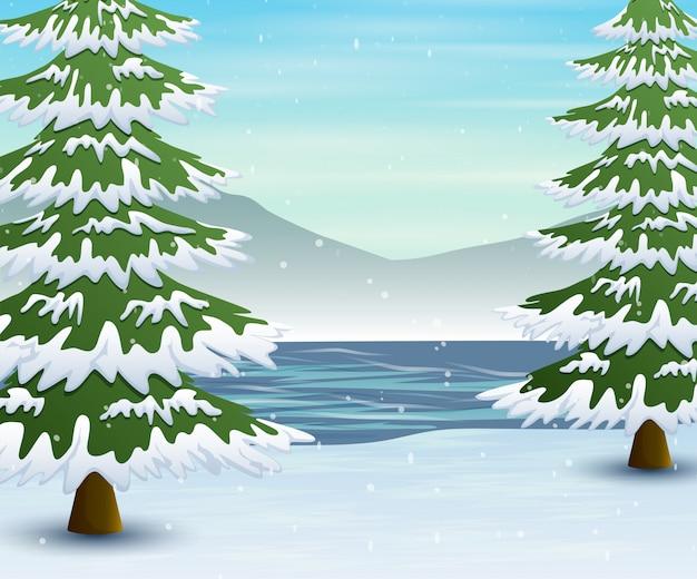 Zimowy krajobraz z zamarzniętym jeziorem i jodły