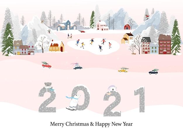 Zimowy krajobraz ze szczęśliwym nowym rokiem 2021 i wesołymi świętami bożego narodzenia, ludzie bawią się podczas zajęć na świeżym powietrzu w nowy rok, boże narodzenie w wiosce z świętowaniem