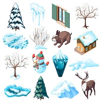 Zimowy krajobraz zestaw izometryczny ikony ze zwierzętami nagie drzewa i krzewy zamarzniętym jeziorze na białym tle
